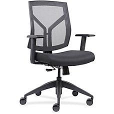 Lorell MeshFabric Mid Back Chair Black