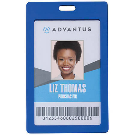 Advantus Vertical Rigid ID Badge Holder - Vertical - Plastic - 6 / Pack - Blue