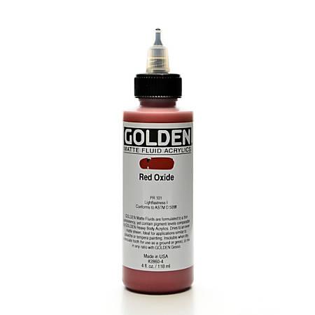 Golden Matte Fluid Acrylic Paint, 4 Oz, Red Oxide
