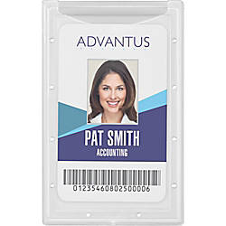 Advantus Clear ID Card Holders Vertical