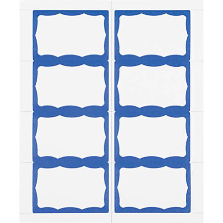 "Advantus Color Border Adhesive Name Badges, AVT97188, 2 5/8"" x 3 3/4"", Rectangle, White/Blue, Box Of 200"