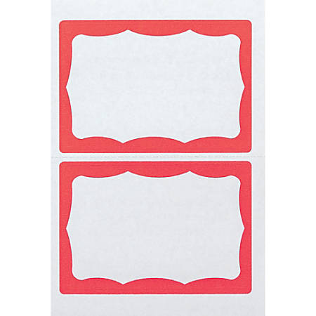 "Advantus Color Border Adhesive Name Badges, AVT97189, 2 5/8"" x 3 3/4"", Rectangle,White/Red, Box Of 100"