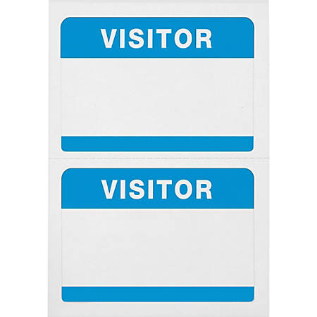 "Advantus Self-Adhesive Badges With ""Visitor"", AVT97190, 2 1/4"" x 3 1/2"", Rectangle, White/Blue, Box Of 100"