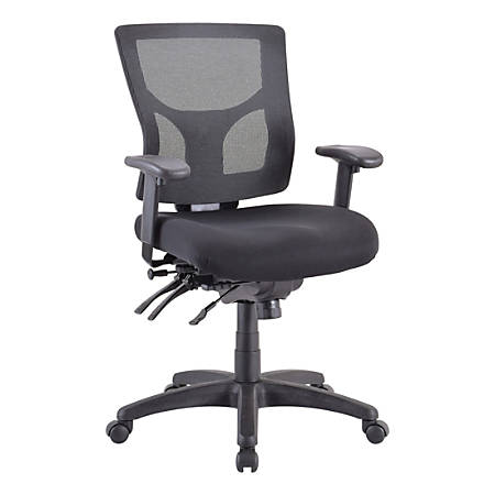 """Lorell Conjure Executive Mid-back Mesh Back Chair - Black Seat - Black Back - 5-star Base - 24"""" Length x 24.4"""" Width x 39.4"""" Height"""