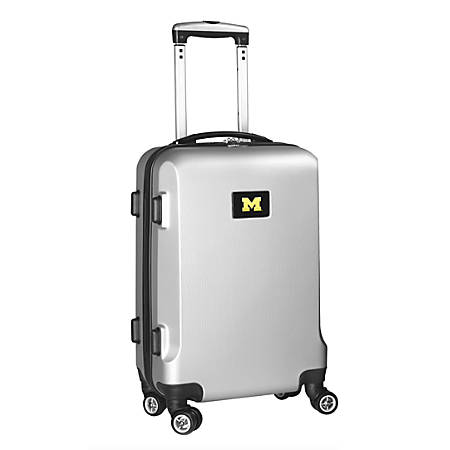 "Denco Sports Luggage Rolling Carry-On Hard Case, 20"" x 9"" x 13 1/2"", Silver, Michigan Wolverines"