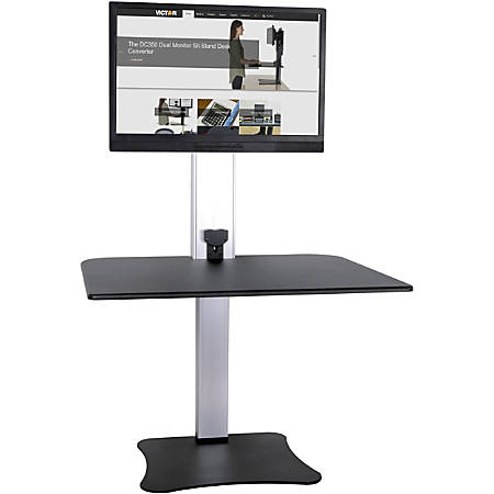 Victor® High Rise™ DC400 Electric Single Monitor Standing Desk Workstation, Black/Silver