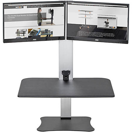 Victor® High Rise™ DC450 Electric Dual Monitor Standing Desk Riser, Black/Silver