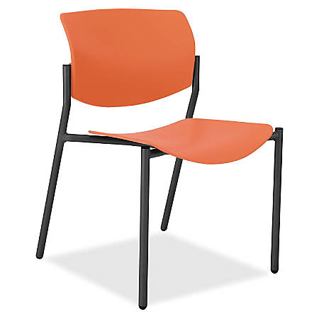 lorell molded plastic stacking chair armless orange set of 4 by