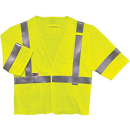 Ergodyne GloWear Flame-Resistant Hi-Vis Safety Vest, Type-R Class 3, Small/Medium, Lime