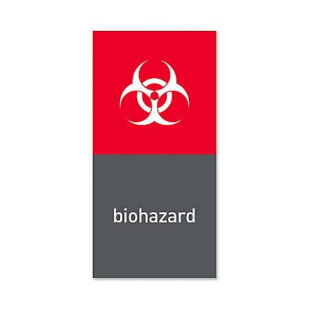 "simplehuman Magnetic Trash Label, Biohazard, 4"" x 8"", Gray"