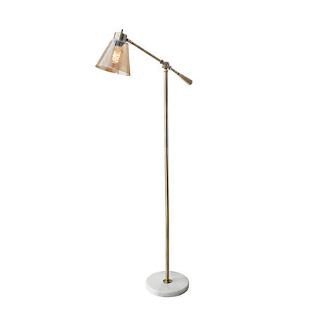 "Adesso® Sienna Floor Lamp, 55 1/2""H, Amber Shade/White Base"