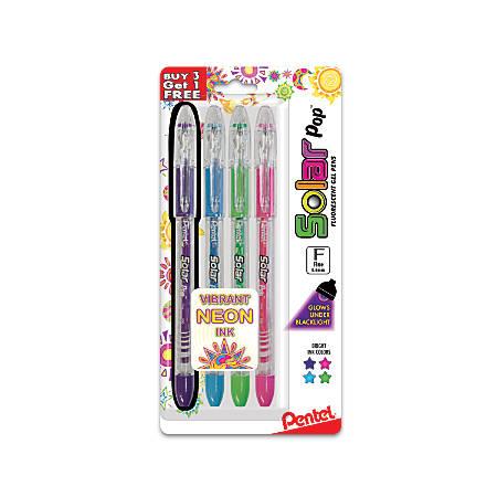 Pentel® Solar Pop Gel Pens, Fine Point, 0.6 mm, Clear Barrel, Assorted Ink Colors, Pack Of 3 Pens