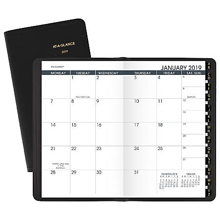 "AT-A-GLANCE® 13-Month Planner, 3 5/8"" x 6 1/8"", Black, January 2019 To January 2020"