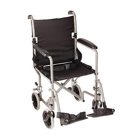 "DMI® Lightweight Folding Transport Chair, 37""H x 26""W x 19""D, Titanium"