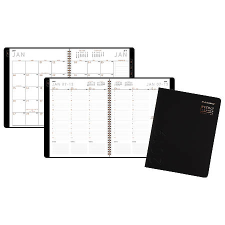 """AT-A-GLANCE® Contemporary Weekly/Monthly Appointment Book/Planner, 8 1/4"""" x 10 7/8"""", Black, January to December 2019"""