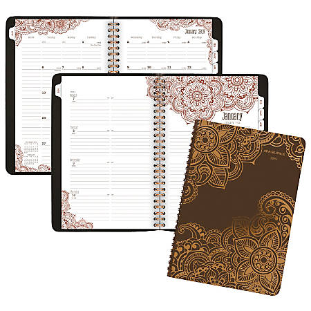 """AT-A-GLANCE® Henna Premium 13-Month Weekly/Monthly Planner, 5 1/2"""" x 8 1/2"""", Brown, January 2019 To January 2020"""