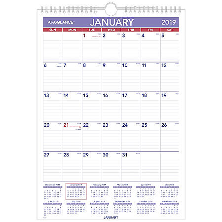 """AT-A-GLANCE® Monthly Wall Calendar, 12"""" x 17"""", January To December 2019"""