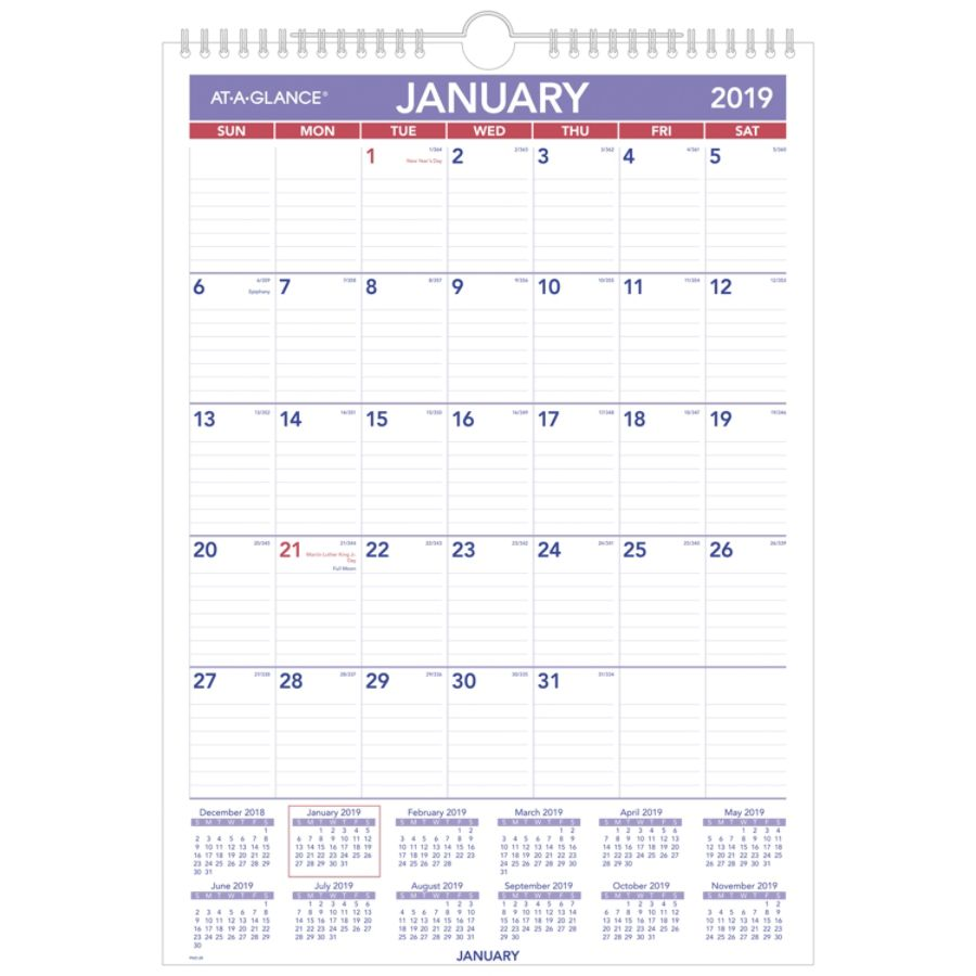 At A Glance Monthly Wall Calendar 12 X 17 January To December 2019