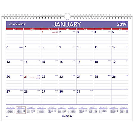 at a glance monthly wall calendar 15 x 12 january to december 2019