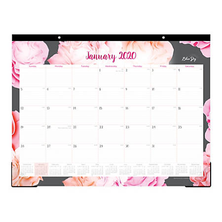 """Blue Sky™ Monthly Desk Pad, 22"""" x 17"""", Joselyn, January To December 2020, 102714"""