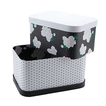 See Jane Work® Nesting Boxes, Black Dot/Floral, Pack Of 2 Boxes