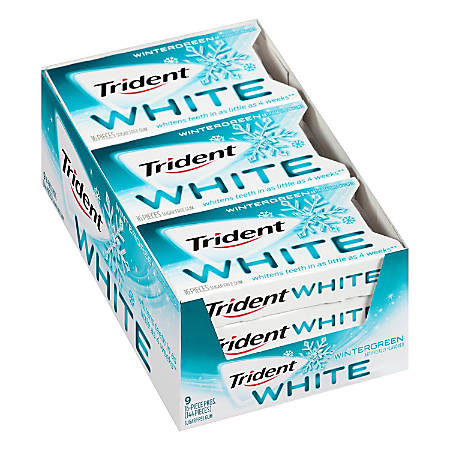 Trident® White Wintergreen Sugar-Free Gum, 16 Pieces Per Pack, Box Of 9 Packs