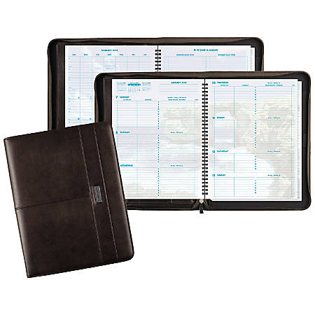 "Day-Timer® Coastlines® Weekly Organizer, 8 1/2"" x 11"", 90% Recycled, Brown, January to December 2019"