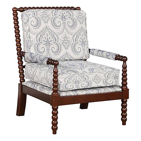 Linon Gardner Spindle Chair, Blue Paisley/Dark Walnut