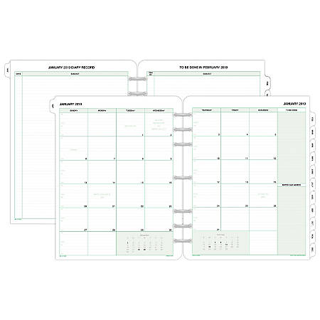 """Day-Timer® Monthly Planner Refill, 8 1/2"""" x 11"""", January To December 2019"""
