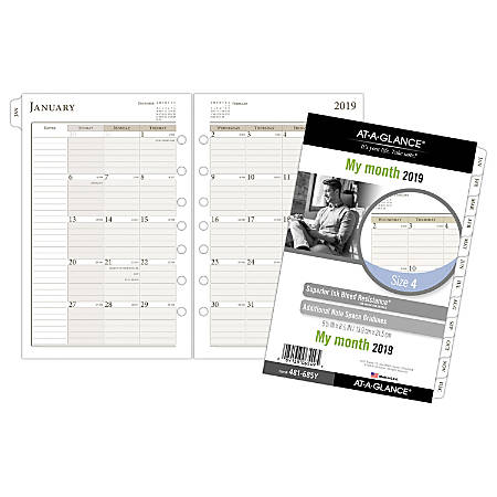 "AT-A-GLANCE® Day Runner® Monthly Loose-Leaf Planner Refill, Size 4, 5 1/2"" x 8 1/2"", January To December 2019"