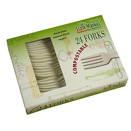 "StalkMarket Compostable Cutlery Forks, 6-1/2"", White, 24 Forks Per Pack, Box Of 24 Packs"