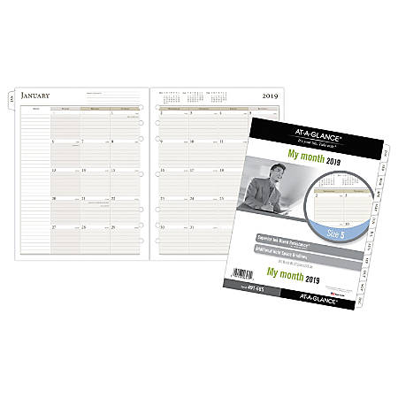 """AT-A-GLANCE® Day Runner® Monthly Planner Ruled-Block Refill, Size 5, 8 1/2"""" x 11"""", January To December 2019"""