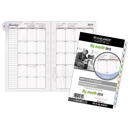"""AT-A-GLANCE® Day Runner® Nature Monthly Planner Refill, Size 4, 5 1/2"""" x 8 1/2"""", January To December 2019"""