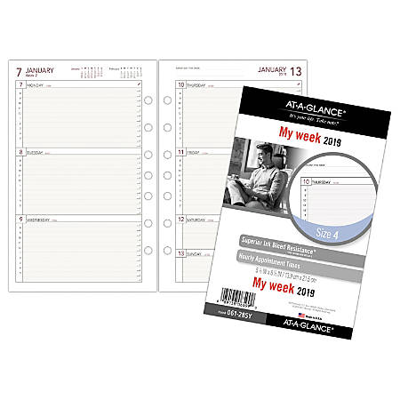 """AT-A-GLANCE® Day Runner® Weekly Planner Refill, Size 4, 5 1/2"""" x 8 1/2"""", January To December 2019"""