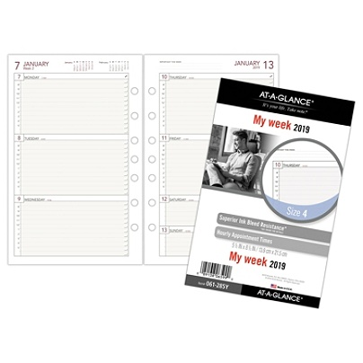 at a glance day runner weekly planner refill size 4 5 12 x 8 12