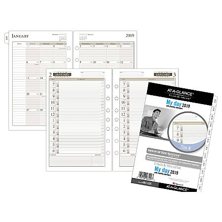 """AT-A-GLANCE® Day Runner® 1 Page Per Day Refill, Size 4, 5 1/2"""" x 8 1/2"""", January To December 2019"""