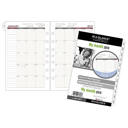"""AT-A-GLANCE® Day Runner® Monthly Planner Refill, Size 4, 5 1/2"""" x 8 1/2"""", January To December 2019"""