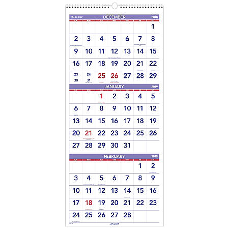 "AT-A-GLANCE® 3-Month Reference 14-Month Vertical Wall Calendar, 12"" x 27"", December 2018 To January 2020"