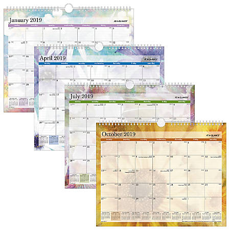 "AT-A-GLANCE® Dreams Monthly Wall Calendar, 14 7/8"" x 11 7/8"", January To December 2019"