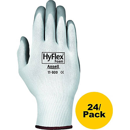 Ansell HyFlex® Foam 11-800 Abrasion-Resistant Gloves, X-Large, Gray/White, Pack Of 24