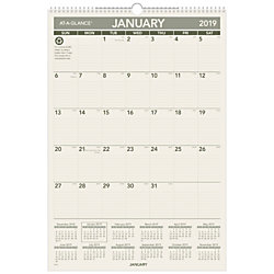 "AT-A-GLANCE® Recycled Monthly Wall Calendar, 15 1/2"" x 22 3/4"", 100% Recycled, January To December 2019"