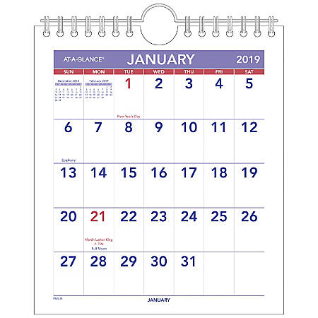 """AT-A-GLANCE® Mini Monthly Wall Calendar, 6 1/2"""" x 7 1/2"""", January To December 2019"""