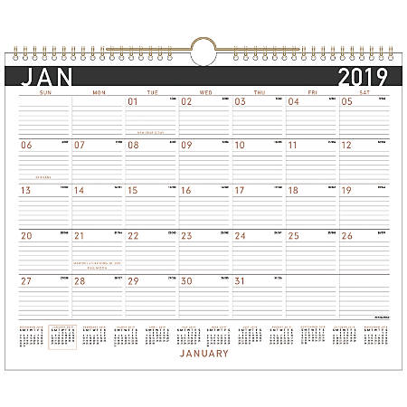 """AT-A-GLANCE® Contemporary Monthly Wall Calendar, 14 7/8"""" x 11 7/8"""", January To December 2019"""