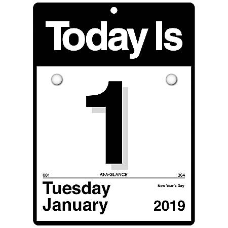 """AT-A-GLANCE® Daily Wall Calendar, 6"""" x 6"""", 30% Recycled, Today Is, January 2019 to December 2019"""