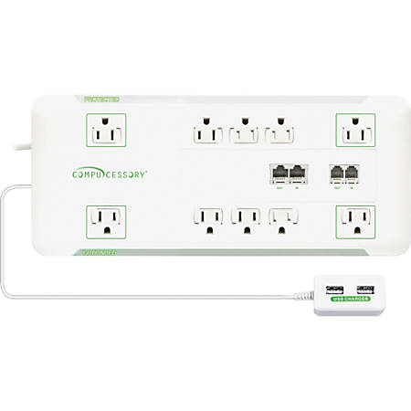 Compucessory Slim 10-Outlet Surge Block Protector, 6' Cord, White, CCS25134