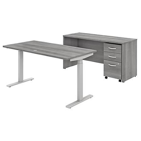 "Bush Business Furniture Studio C 60""W x 30""D Height-Adjustable Standing Desk, Credenza And Mobile File Cabinet, Platinum Gray, Standard Delivery"