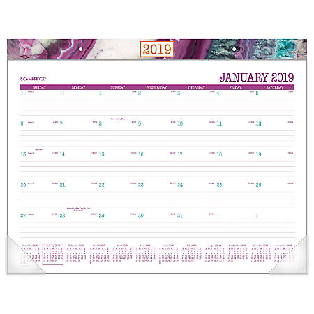 """Cambridge® Agate Monthly Desk Pad, 21 3/4"""" x 17"""", January To December 2019"""