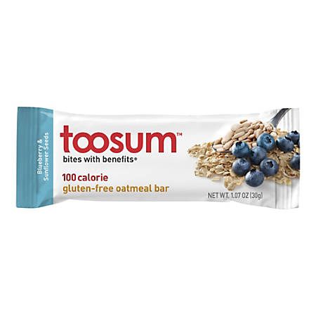 Toosum Healthy Foods Oatmeal Bars, Blueberry, 1.07 Oz, Pack Of 20 Bars