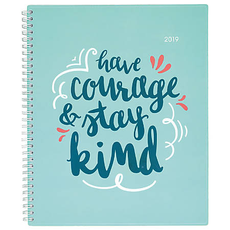 "Cambridge® Pep Talk Weekly/Monthly Planner, 8 1/2"" x 11"", Teal, January To December 2019"