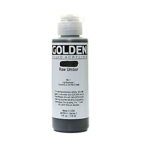 Golden Fluid Acrylic Paint, 4 Oz, Raw Umber